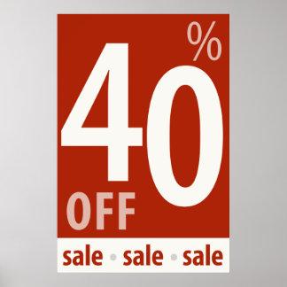 販売の印-小売り小売販売ポスターを離れて強力な40% ポスター