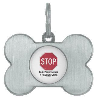 責任及び偶発事(停止印)のための停止 ペットネームタグ