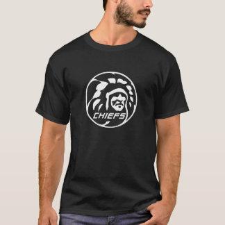 責任者暗いTの白いロゴ Tシャツ