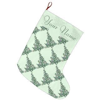 貯蔵-緑の活気づいた木 ラージクリスマスストッキング