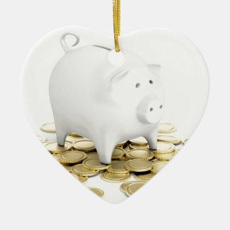貯金箱および硬貨 セラミックオーナメント
