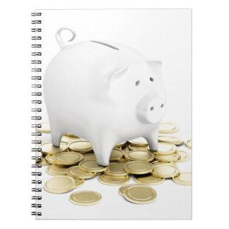 貯金箱および硬貨 ノートブック