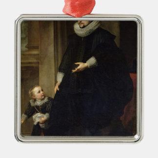貴族および彼の子供のポートレート メタルオーナメント