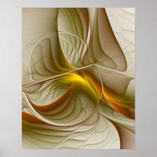 貴金属の色、抽象的なフラクタルの芸術 ポスター