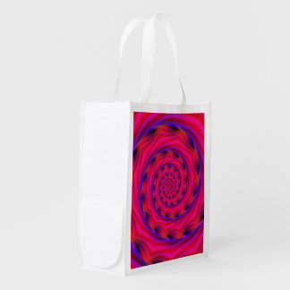 買い物袋の赤いすみれ色および青の螺線形 エコバッグ