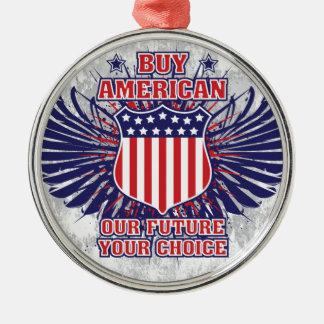 買物のアメリカのオーナメント シルバーカラー丸型オーナメント