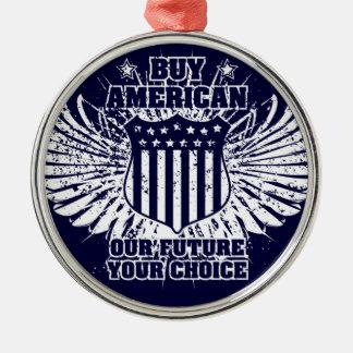 買物のアメリカ人IIのオーナメント シルバーカラー丸型オーナメント