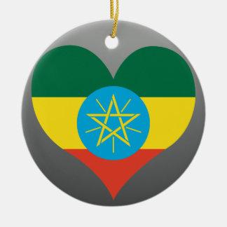 買物のエチオピアの旗 陶器製丸型オーナメント