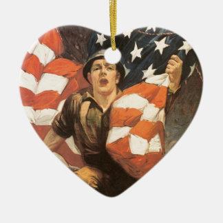 買物の戦時公債 陶器製ハート型オーナメント