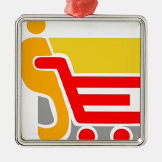 買物をすること-抽象芸術 シルバーカラー正方形オーナメント