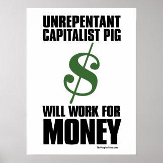 資本家のブタ-ドル記号: 抗議ポスター ポスター