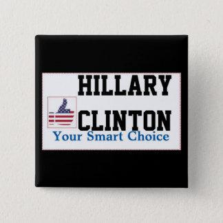 賛成の印が付いているヒラリー・クリントンの正方形ボタン 5.1CM 正方形バッジ