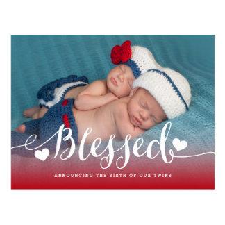 賛美された双生児|の写真の誕生の発表 ポストカード