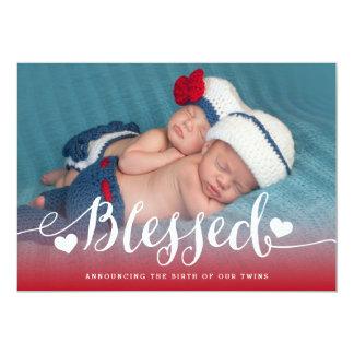 賛美された双生児|の写真の赤ん坊の誕生の発表 12.7 X 17.8 インビテーションカード