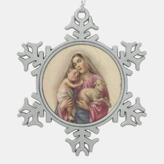 賛美された聖母マリアの母ベビーイエス・キリスト及び子ヒツジ スノーフレークピューターオーナメント