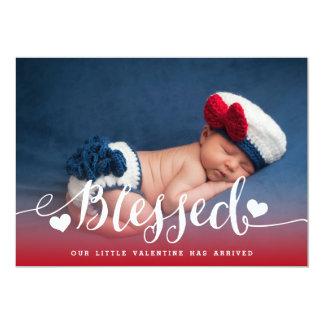 賛美された|のバレンタインの赤ん坊の誕生の発表 12.7 X 17.8 インビテーションカード