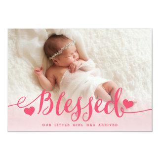 賛美された|のピンクの女の赤ちゃんの写真の誕生の発表 カード