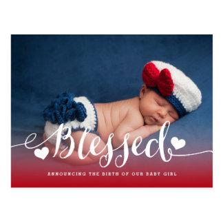 賛美された|の写真のベビーの誕生の発表 ポストカード