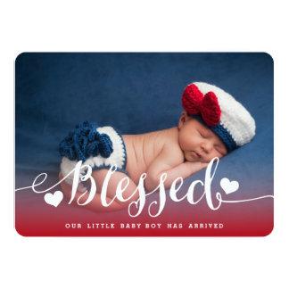 賛美された|の男の赤ちゃんの誕生の発表 カード