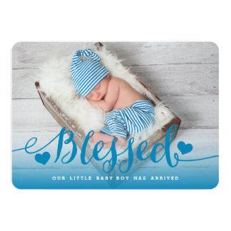 賛美された|の青い男の赤ちゃんの誕生の発表 カード