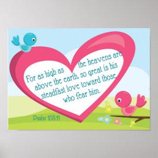 賛美歌の103:11の神の素晴らしい愛ポスター ポスター