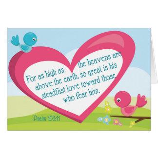 賛美歌の103:11の神の素晴らしい愛勇気付けられるカード カード
