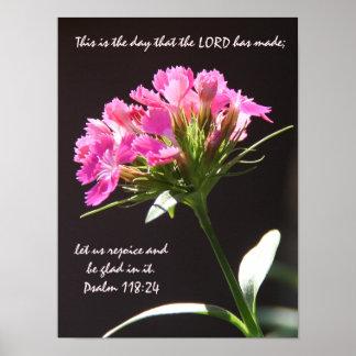 賛美歌の118:24からの詩のピンクの花の開花 ポスター
