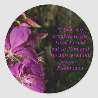 賛美歌の120:1の美しい紫色の花のステッカー ラウンドシール