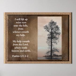 賛美歌の121:1 -鉱山のeyes~の芸術のプリントの上の2 ~Lift ポスター