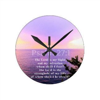 賛美歌の27:1の感動的な聖書の詩 ラウンド壁時計