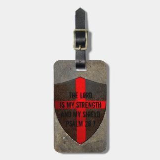 賛美歌の28:7の主は私の強さ及び盾です ラゲッジタグ