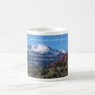 賛美歌24からの穂先のピークそして感動的なメッセージ ベーシックホワイトマグカップ