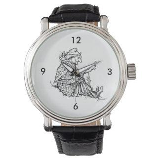賢い女性の祖母のスケッチのデザイン 腕時計