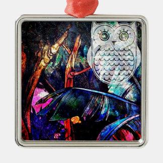 賢い森林フクロウのファンタジー シルバーカラー正方形オーナメント