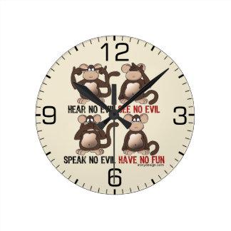 賢い猿のユーモア ラウンド壁時計