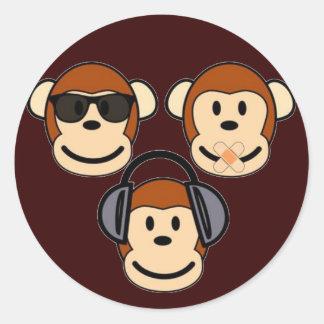 賢い3およびファンキーな猿 ラウンドシール