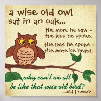 賢く古いフクロウ-諺-小型ポスター ポスター