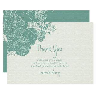 賢人及び白い、スケッチされた花のサンキューカード カード