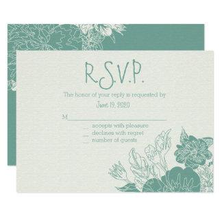 賢人及び白い、スケッチされた花柄の応答カード カード