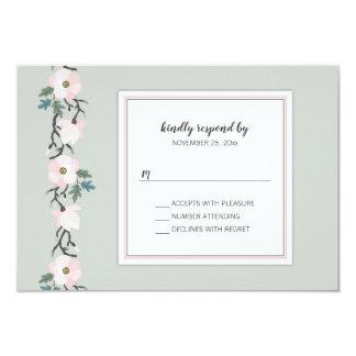 賢人 + ピンクの赤面花RSVPの結婚式の応答 カード