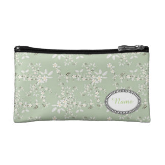 賢明で、白い花の名前入りな化粧品のバッグ コスメティックバッグ