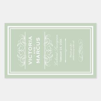 賢明な結婚式のワイン・ボトルのモノグラムの好意のラベル 長方形シール