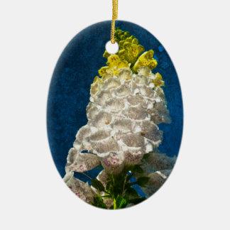 質の白いFoxgloveの花 セラミックオーナメント