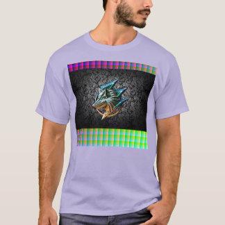 賭博のオオカミの黒のペイズリーの正方形 Tシャツ