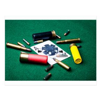 賭博のカードおよび弾丸 ポストカード