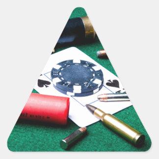 賭博のカードおよび弾丸 三角形シール
