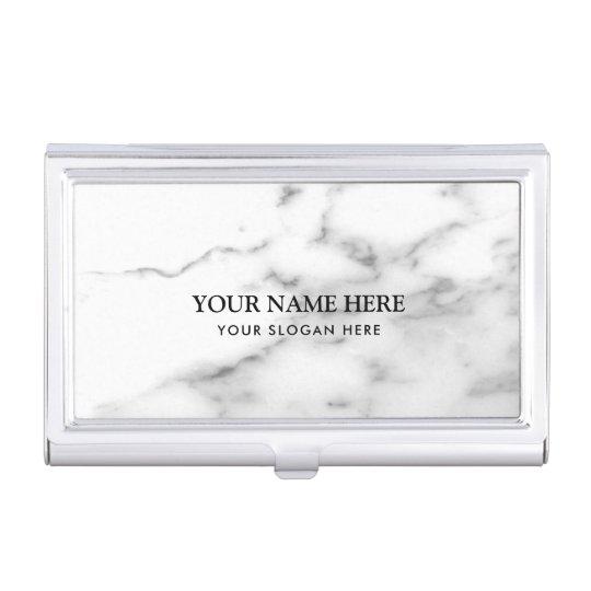 贅沢で白い大理石の石造りの会社名 名刺入れ