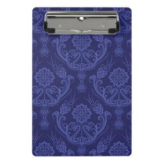 贅沢で青い花のダマスク織の壁紙 ミニクリップボード
