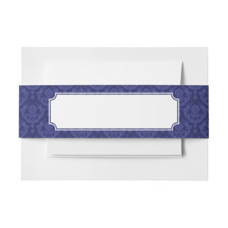 贅沢で青い花のダマスク織の壁紙 招待状ベリーバンド