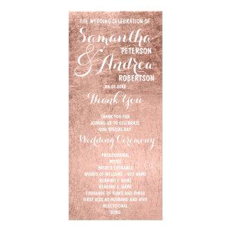 贅沢なのどのばら色の金ぱくの結婚式プログラム ラックカード